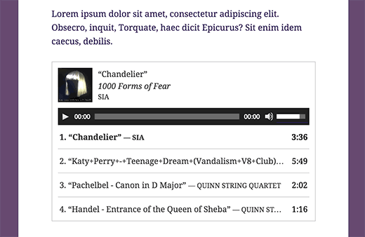 An audio playlist embedded in a WordPress blog post