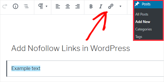 select text to add link in Gutenberg Editor