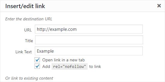 Add Nofollow attribute to a link in WordPress Classic Editor