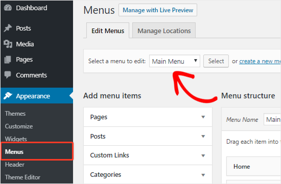 Select a navigation menu to edit