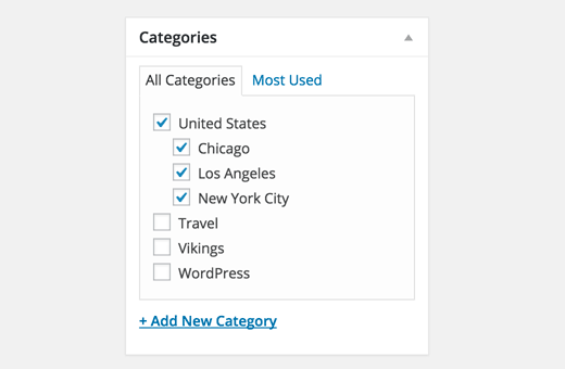 Child and parent categories in WordPress