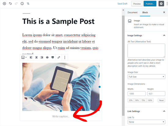 Add Caption to Image in WordPress post