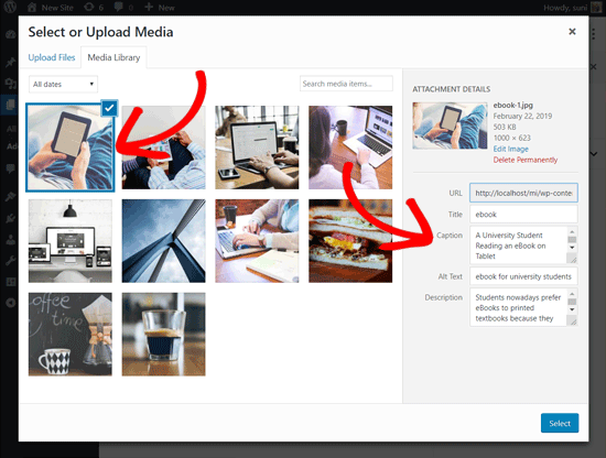 Select Image to Add in a WordPress Post