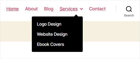 A drop-down sub menu in the site's navigation