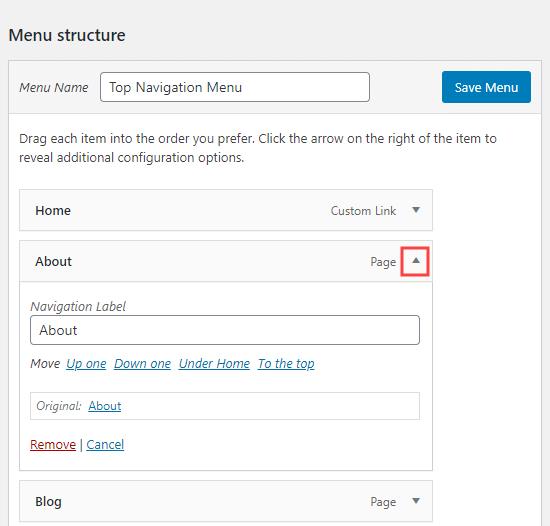 Expanding a menu item to edit its name