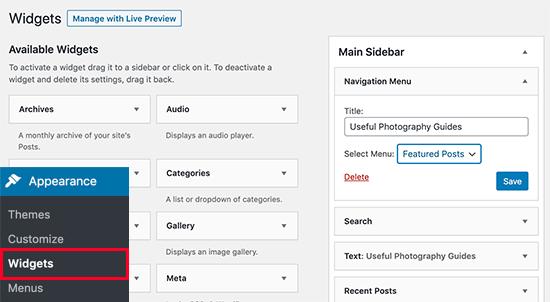 Add Navigation Menu widget to your sidebar