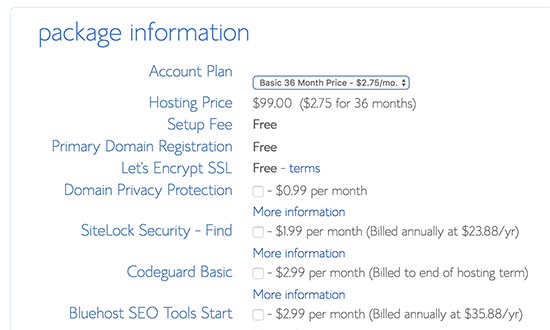 Finalize account information