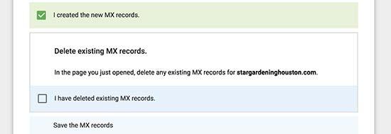 Created new MX records