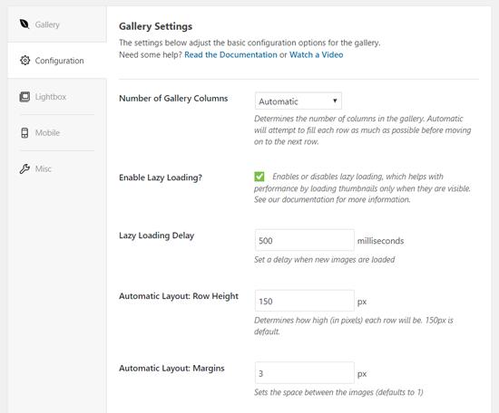 Configure Envira Gallery Settings