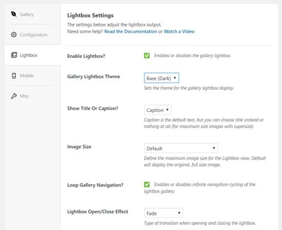 Envira Gallery Lightbox Options
