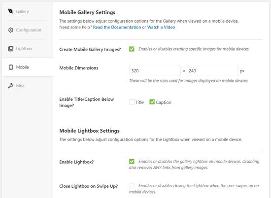 Envira Mobile Gallery Settings