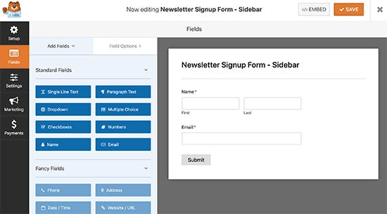 Editing newsletter signup form