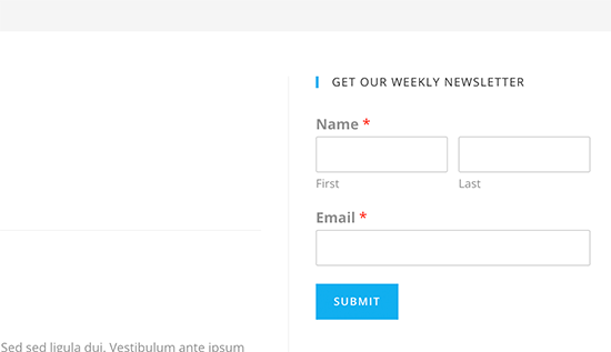 Newsletter sign up form displayed in the sidebar