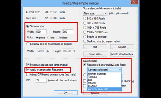 Resizing images to make them larger in Irfanview