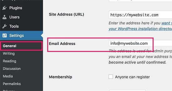 Changing WordPress site admin email