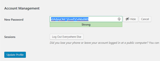 Auto Password in WordPress