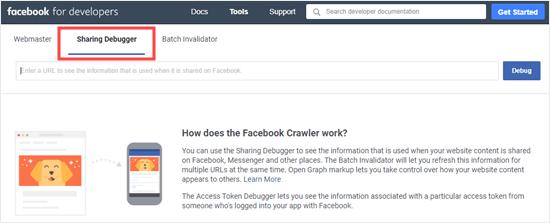The Facebook Sharing Debugger tool