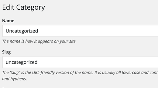 Renaming category