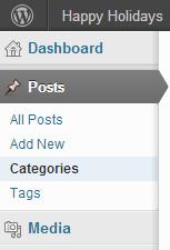 Category menu under posts in WordPress admin dashboard