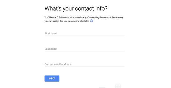 Enter contact info