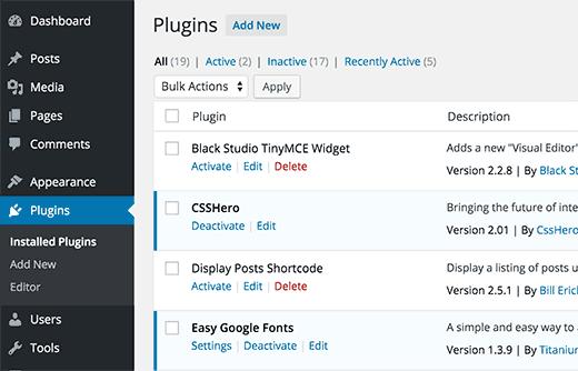 Installed plugins on a WordPress site