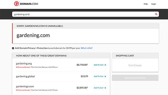 Domain.com search