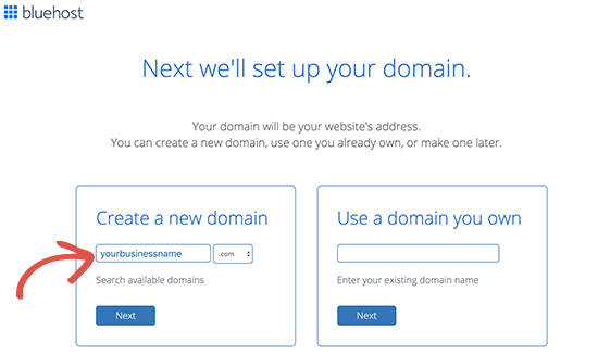 Select your free email domain