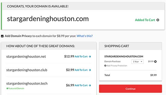 Complete domain registration
