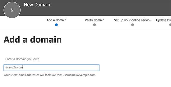 Enter domain name