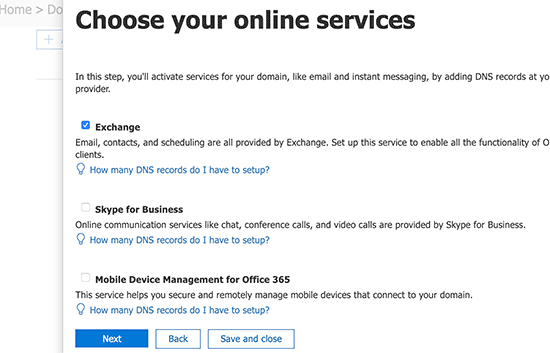 Choose exchange as your service