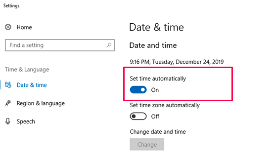 Date and time settings are turned on to automatically sync