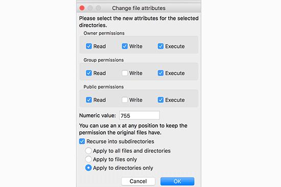 Fixing folder permissions in WordPress