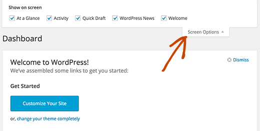 Show or hide sections on WordPress dashboard screen