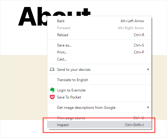 Selecting the Inspect option in Chrome