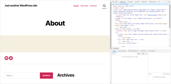 The default desktop view when inspecting your site in Chrome