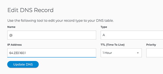 Adding A record for your domain