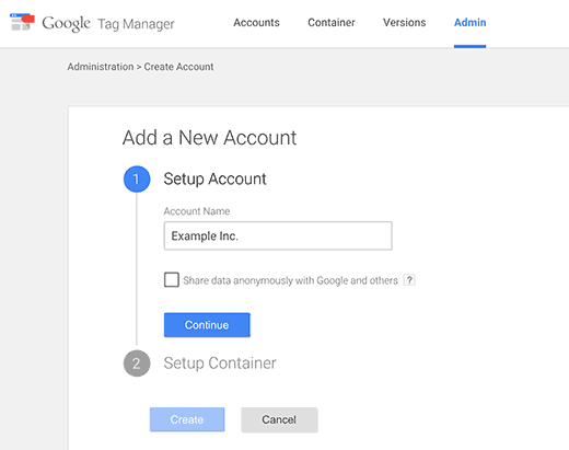 Creating Google Tag Manager account