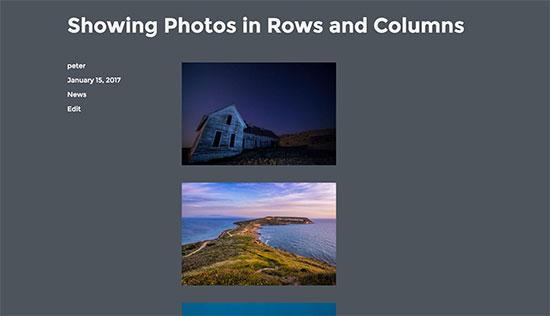 default scrolling display of photos in WordPress