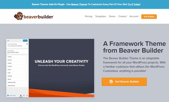 The Beaver Builder theme's website