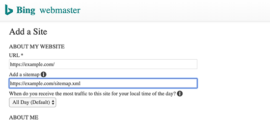 Adding your sitemap in Bing
