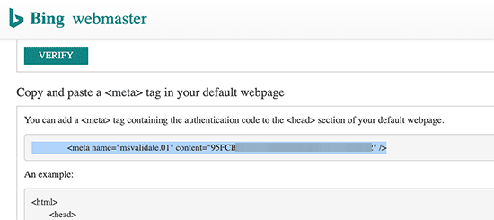 Bing webmaster tool verification