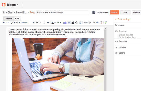 Creating an Article in Blogger