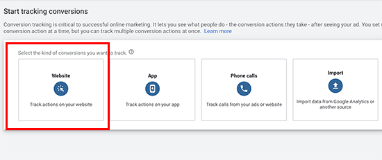 Track conversions in Google Ads