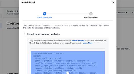 Copy Facebook Pixel code