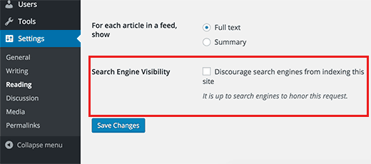 Search engine visibility option in WordPress Settings