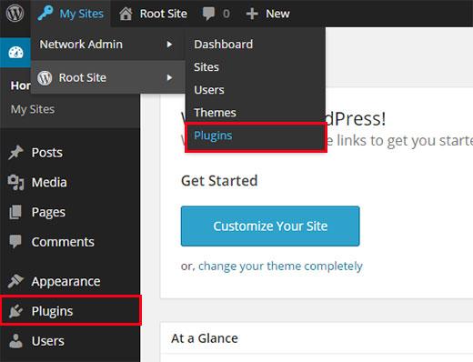 Site and Network Plugins menus