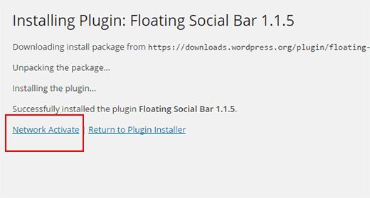 Network activate plugin