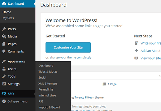 WordPress SEO settings on a subsite of a multisite network