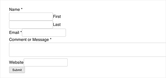 Contact form without styling