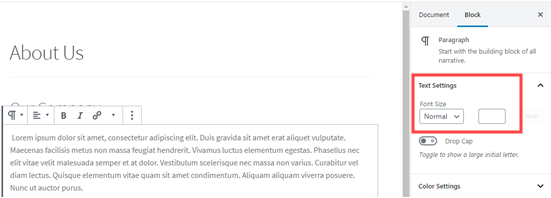 Changing the text size of a paragraph block